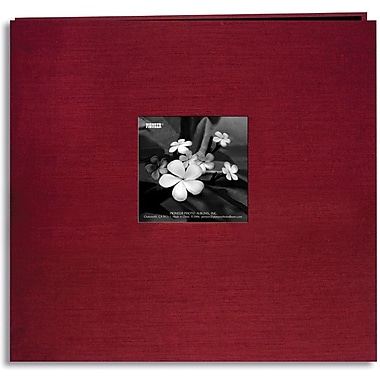 Pioneer Silk Postbound Album With Photo Window, 12in. x 12in., Cranberry