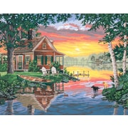 "Dimensions Paint By Number Craft Kit Painting, 20"" x 16"", Sunset Cabin (91315)"