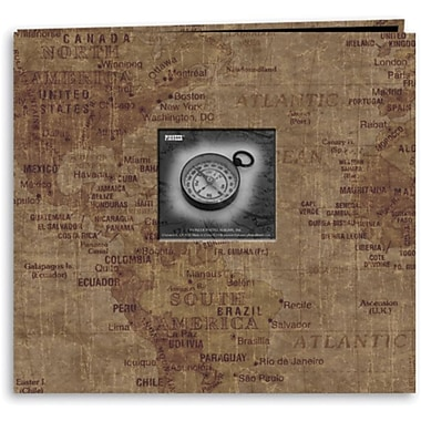 Pioneer Travel Postbound Album With Photo Window, 12in. x 12in., World Map