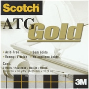 3M Scotch ATG Gold Transfer Tape, 2/Pkg, .25 x 36 Yards