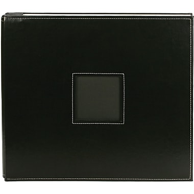 American Crafts Leather Postbound Album, 12in. x 12in., Black
