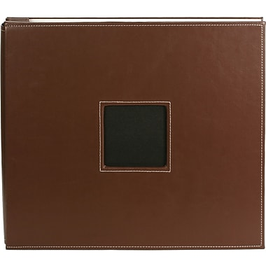 American Crafts Leather Postbound Album, 12in. x 12in., Brown