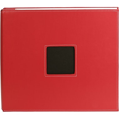 American Crafts Leather Postbound Album, 12in. x 12in., Red