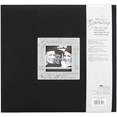 MBI Expressions Postbound Album, 12in. x 12in., Graduation - Black