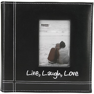 Pioneer Embroidered Stitched Leatherette Photo Album 9in. x 9in.-Black Live/Laugh/Love
