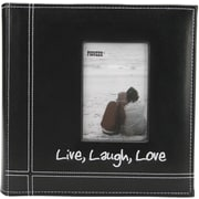 "Pioneer Embroidered Stitched Leatherette Photo Album 9"" x 9""-Black Live/Laugh/Love"