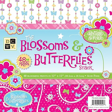 Diecuts With A View Blossoms & Butterflies Paper Stack 12in. x 12in.-48 Sheets
