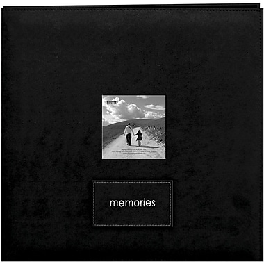 Pioneer Embroidered Patch Faux Suede Frame Postbound Album, 12in. x 12in., Black