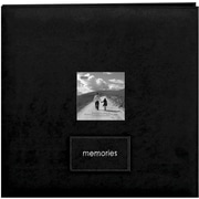 Pioneer Embroidered Patch Faux Suede Frame Postbound Album, 12 x 12, Black