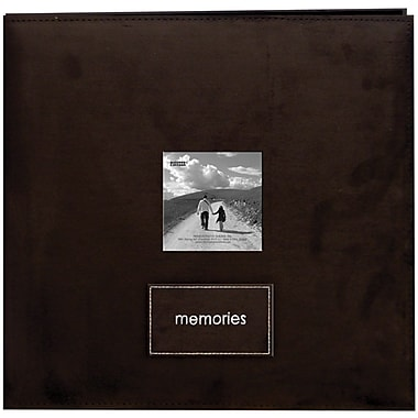 Pioneer Embroidered Patch Faux Suede Frame Postbound Album, 12in. x 12in., Dark Brown