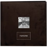 "Pioneer Embroidered Patch Faux Suede Frame Postbound Album, 12"" x 12"", Dark Brown"