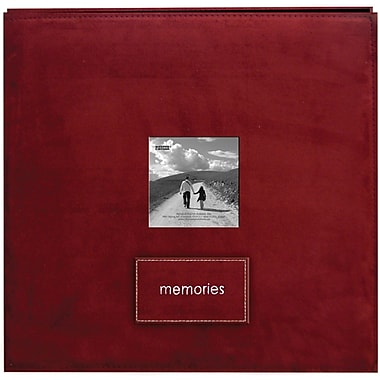 Pioneer Embroidered Patch Faux Suede Frame Postbound Album, 12in. x 12in., Raspberry