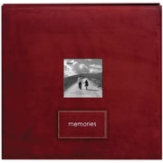Pioneer Embroidered Patch Faux Suede Frame Postbound Album, 12 x 12, Raspberry
