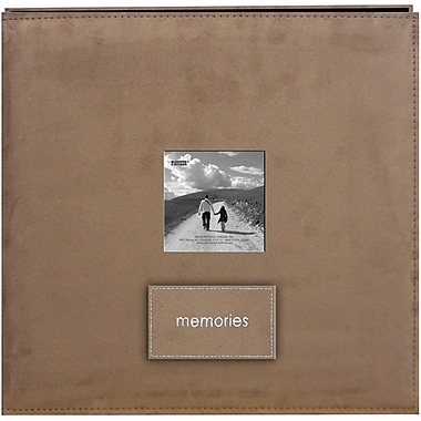 Pioneer Embroidered Patch Faux Suede Frame Postbound Album, 12in. x 12in., Tan