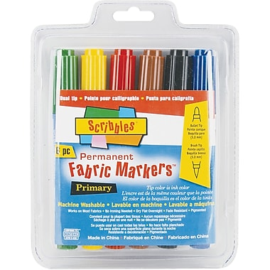 Duncan Scribbles Twin Tip Point Permanent Primary Fabric Marker, Assorted, 6/Pack