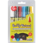 Uchida Puffy Velvet Fine Point Primary Fabric Marker, Assorted, 6/Pack
