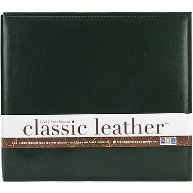 We R Memory Keepers We R Classic Leather Postbound Album, 12in. x 12in., Forest Green