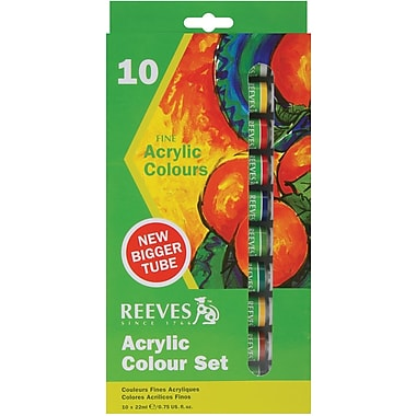 Reeves Acrylic Paints, 22ml, 10/Pkg, Assorted Colors