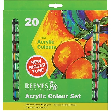 Reeves Acrylic Paints, 22ml, 20/Pkg, Assorted Colors