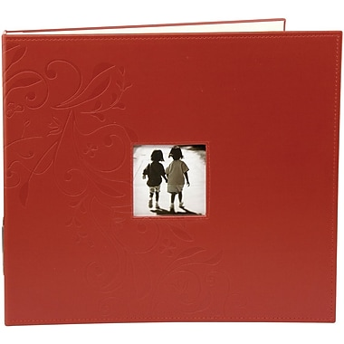 Making Memories Embossed Leather 3-Ring Album W/Window, 12in. x 12in., Red