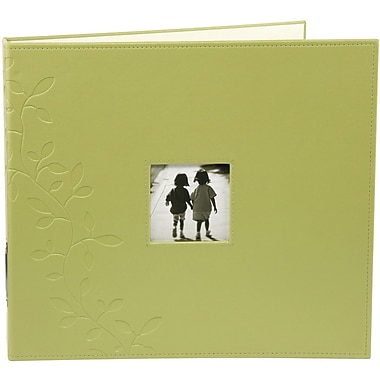 """Making Memories Embossed Leather 3-Ring Album W/Window, 12″"" x 12″"", Greenhouse"""