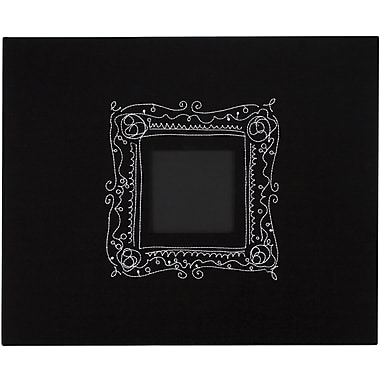 American Crafts Patterned 3-Ring Album, 12in. x 12in., Black W/Embroidered Frame