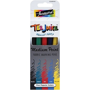 Jacquard Products Tee-Juice Medium Point Fabric Pens, 5/Pkg, Classics