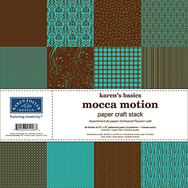 Karen Foster Karen's Basics Paper Craft Stack, 12in.X12in., Mocca Motion