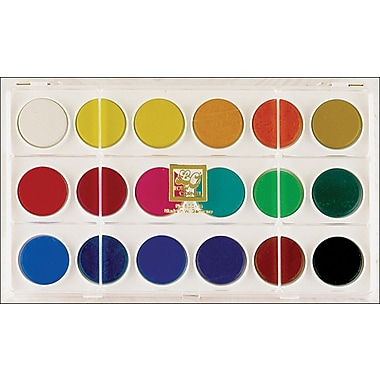 Loew-Cornell Dry Pan Watercolor Paint Cakes, 18/Pkg, Assorted Colors