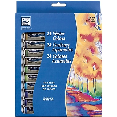 Loew-Cornell Watercolor Paint, 12ml, 24/Pkg, Assorted Colors