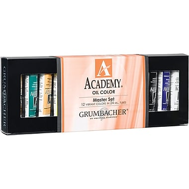Chartpak Grumbacher Academy Oil Paint, 24ml, 12/Pkg, Master Set