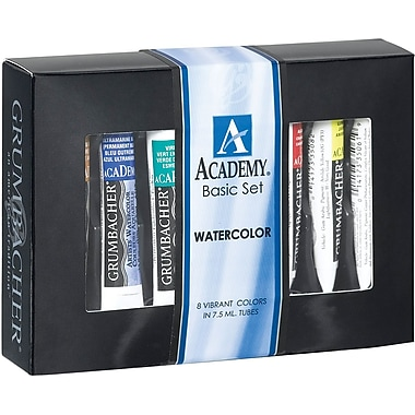 Chartpak Grumbacher Academy Watercolor Paint, 7.5ml, 8/Pkg, Basic Set