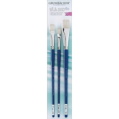 Chartpak Grumbacher Oil & Acrylic Brush Set, 3/Pkg, Bright Size 10in.