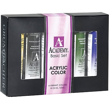 Chartpak Grumbacher Academy Basic Acrylic Paint Set 24ml 6/Pkg-Basic Set