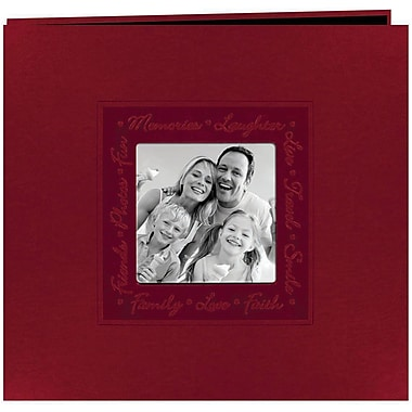 Pioneer Embossed Script Frame Scrapbook, 12in. x 12in., Red