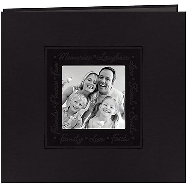 Pioneer Embossed Script Frame Scrapbook, 12in. x 12in., Black