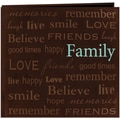 Pioneer Text Faux Suede Scrapbook, 12in. x 12in., Family