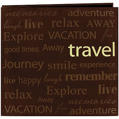 Pioneer Text Faux Suede Scrapbook, 12in. x 12in., Travel