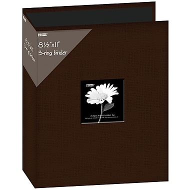 Pioneer Fabric 3, Ring Binder Album With Window, 8.5in. x 11in., Brown