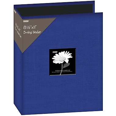 Pioneer Fabric 3, Ring Binder Album With Window, 8.5in. x 11in., Blue