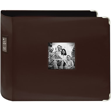 Pioneer Sewn Leatherette 3-Ring Binder, 12in. x 12in., Brown