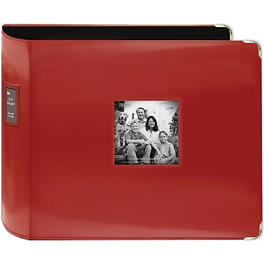 Pioneer Sewn Leatherette 3-Ring Binder, 12in. x 12in., Red