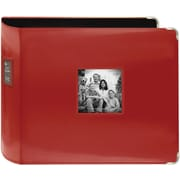 "Pioneer Sewn Leatherette 3-Ring Binder, 12"" x 12"", Red"