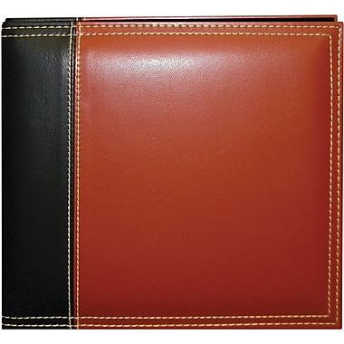 Pioneer Sewn Leatherette Scrapbook 8in. x 8in., Brown-Black