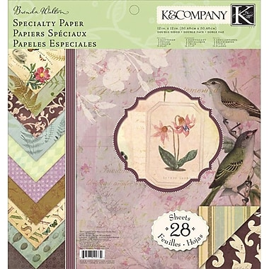 K&Company Flora & Fauna Double-Sided Specialty Paper Pad 12in. x 12in.-38 Sheets