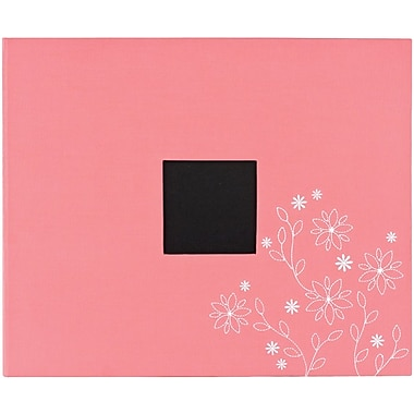 American Crafts Patterned 3-Ring Album, 12in. x 12in., Raspberry Embroidery