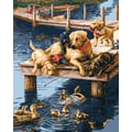 Plaid:Craft Paint By Number Kit, 16in. x 20in., Dock Dogs
