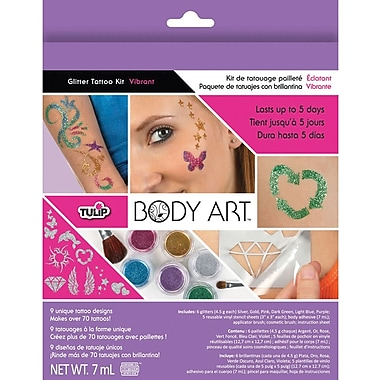 Duncan Tulip Body Art Glitter Tattoo Kit, Vibrant