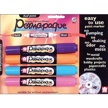 Sakura Permapaque Paint Marker Dual Point, Purple/Pink/Orange/Sky Blue