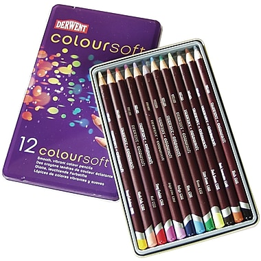 Reeves Derwent Coloursoft Pencil Tin, 12/Pkg
